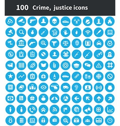 100 crime justice icons vector