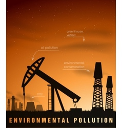 Pollution concept of ecology and oil plants vector
