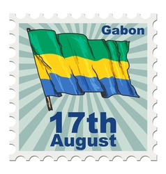 Post stamp of national day of gabon vector