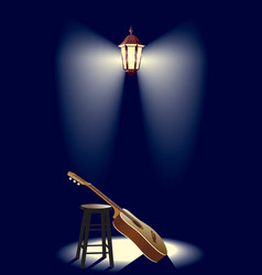Guitar in the street lantern vector