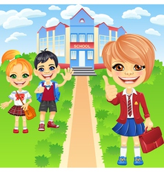 Happy smiling schoolchildren girls and boy vector