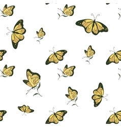 Colored doodle butterfly pattern vector