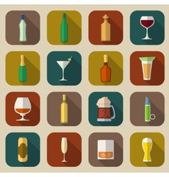 Alcohol icons flat vector