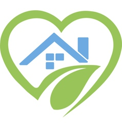 House in heart logo vector