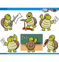 Turtle character student cartoon set vector