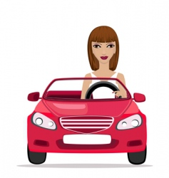 Woman in a red convertible vector