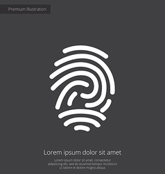 Fingerprint premium icon white on dark background vector