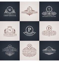 Luxury logo set calligraphic pattern elegant vector