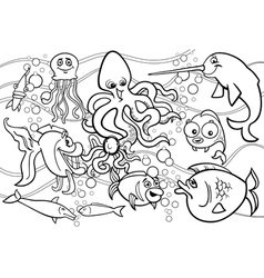 Sea life animals group coloring page vector