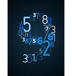 Number 9 font from numbers vector