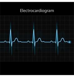 Electrocardiogram - ecg on black background vector