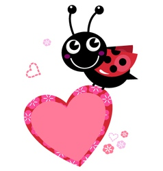 Cute flying ladybug with heart isolated on white vector