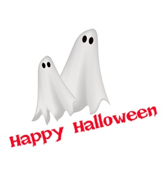 Two happy ghosts with word happy halloween vector