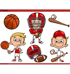 Boy with sport equipment cartoon set vector
