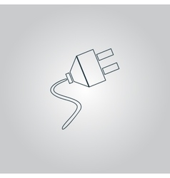 Electrical plug web flat icon vector
