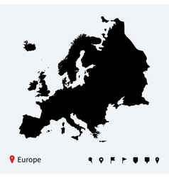 High detailed map of europe with navigation pins vector