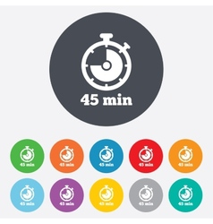 Timer sign icon 45 minutes stopwatch symbol vector