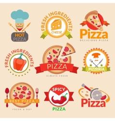 Pizzeria labels set vector