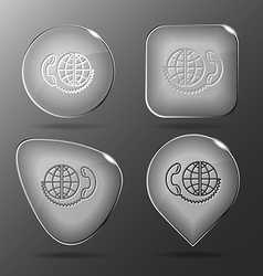 Global communication glass buttons vector