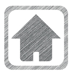 Hatched square home icon vector
