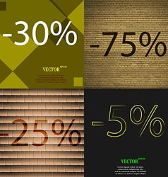 5 75 icon set of percent discount on abstract vector