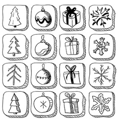 Set of christmas sketch icons vector