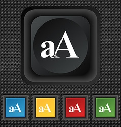 Enlarge font aa icon sign symbol squared colourful vector