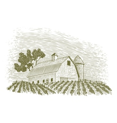 Woodcut barn and silo vector