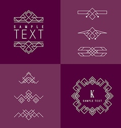 Frame and design elements mono line geometric vector