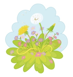 Flowers dandelions in the sky vector