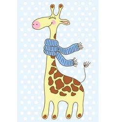 Cute happy giraffe with a scarf vector
