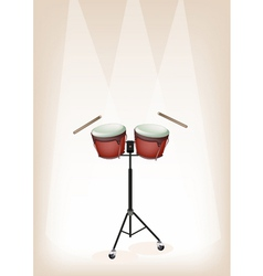 Bongo with stand on brown stage background vector