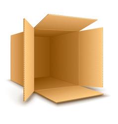 Open empty cardboard box vector