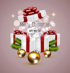 Christmas card and gift box vector