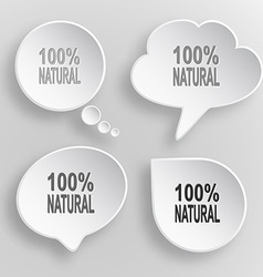 100 natural white flat buttons on gray background vector