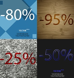 95 25 50 icon set of percent discount on abstract vector