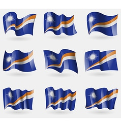 Set of marshll islands flags in the air vector