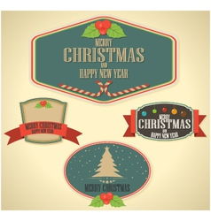 Christmas decoration and vintage new year labels vector