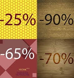 90 65 70 icon set of percent discount on abstract vector