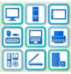 Set of 9 icons with computers vector