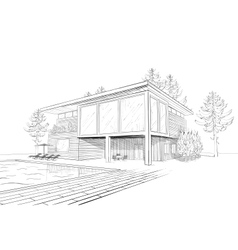 Sketch of modern house with swimming pool vector