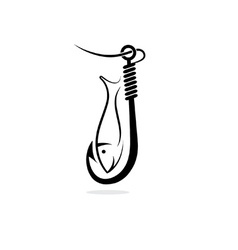 Fishing hook and fish vector