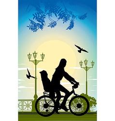 Family bike ride vector