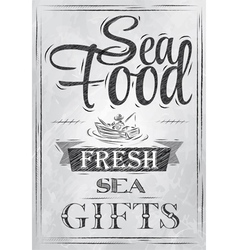 Poster sea food fresh sea gifts charcoal vector