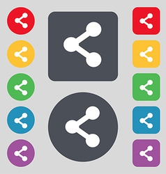 Share icon sign a set of 12 colored buttons flat vector