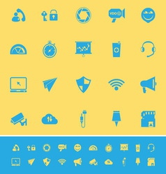 Smart phone screen color icons on yellow vector