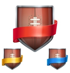 Set of bright shield in the football ball inside vector
