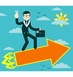 Successful businessman with victory sign flying on vector