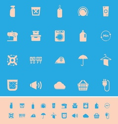 Laundry related color icons on blue background vector
