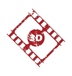 Red grunge 3d film logo vector